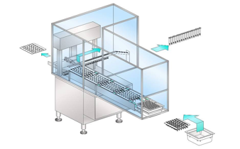 Автоматическая система пошаговой выемки шприцев из кассеты